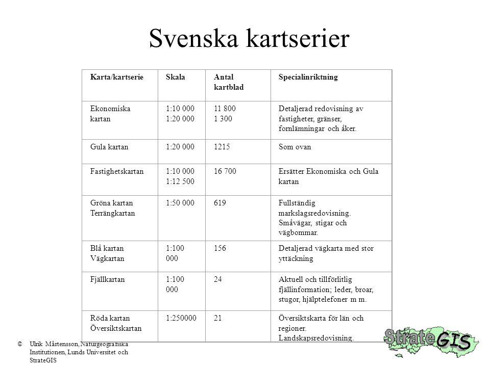 Generalisering ©Ulrik Mårtensson, Naturgeografiska Institutionen, Lunds Universitet och StrateGIS Det är inte bara vilka vägar som visas som skiljer kartorna åt.