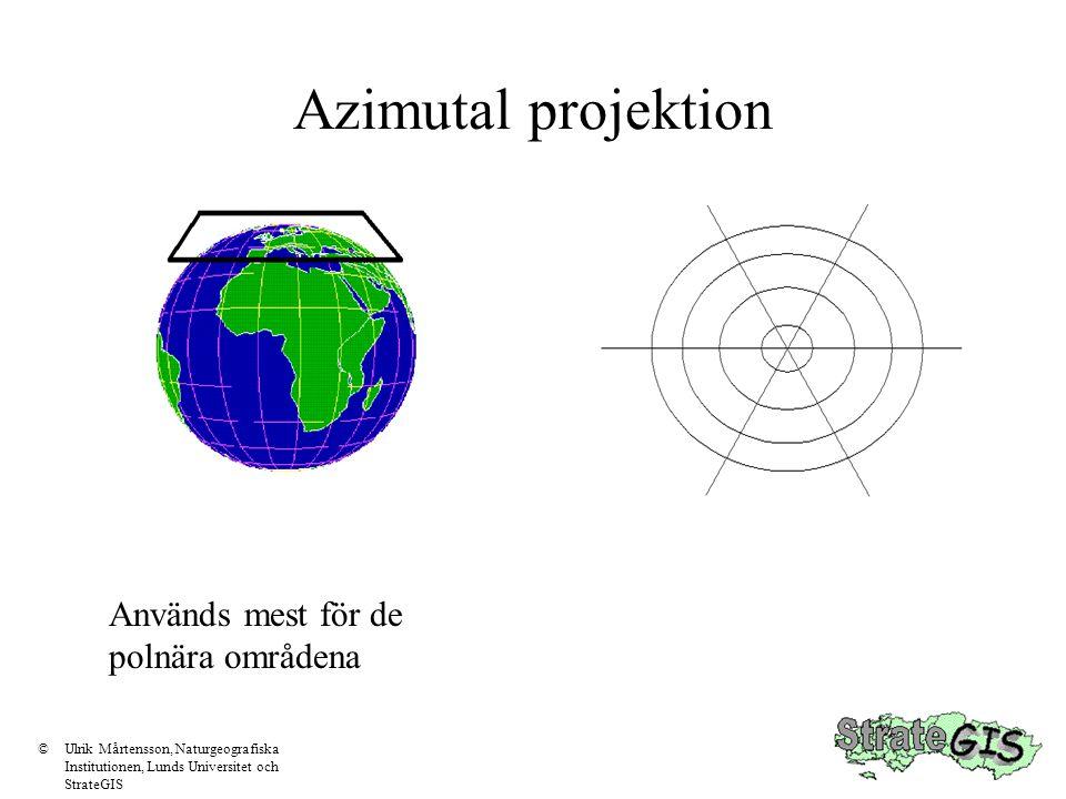 Projektioner Det finns olika sätt att överföra sfären till en plankarta.