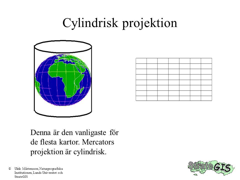 Konisk projektion Den koniska projektionen är korrekt där konen tangerar sfären ©Ulrik Mårtensson, Naturgeografiska Institutionen, Lunds Universitet och StrateGIS