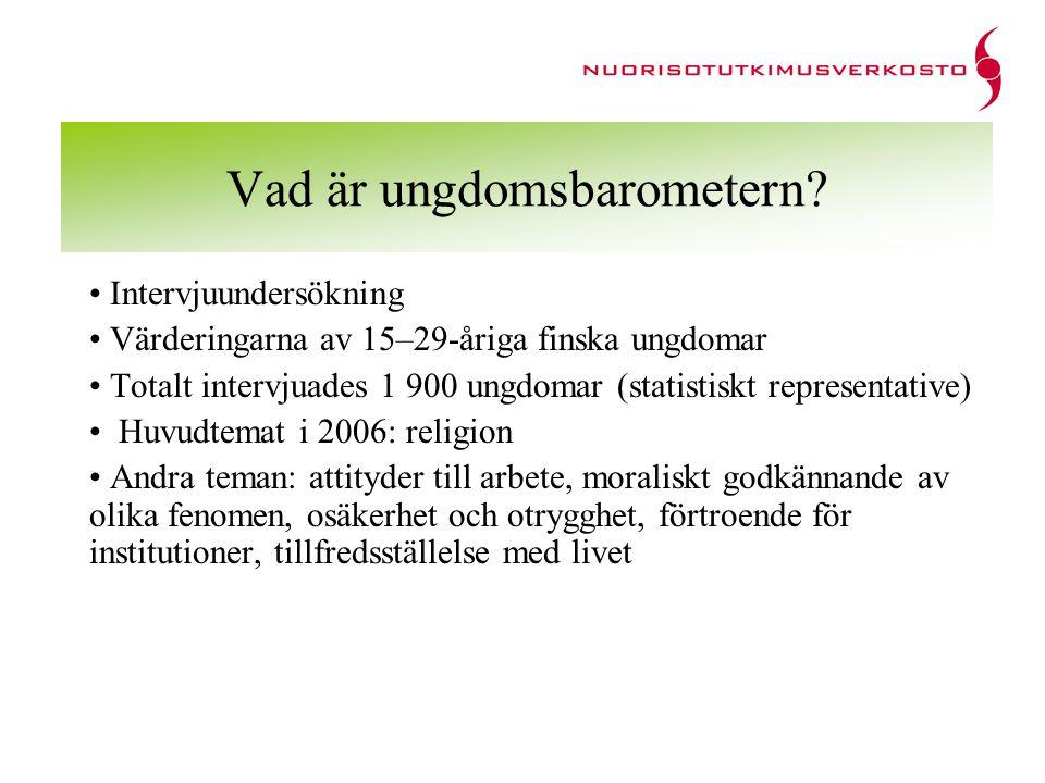 Vad är ungdomsbarometern? Intervjuundersökning Värderingarna av 15–29-åriga finska ungdomar Totalt intervjuades 1 900 ungdomar (statistiskt representa