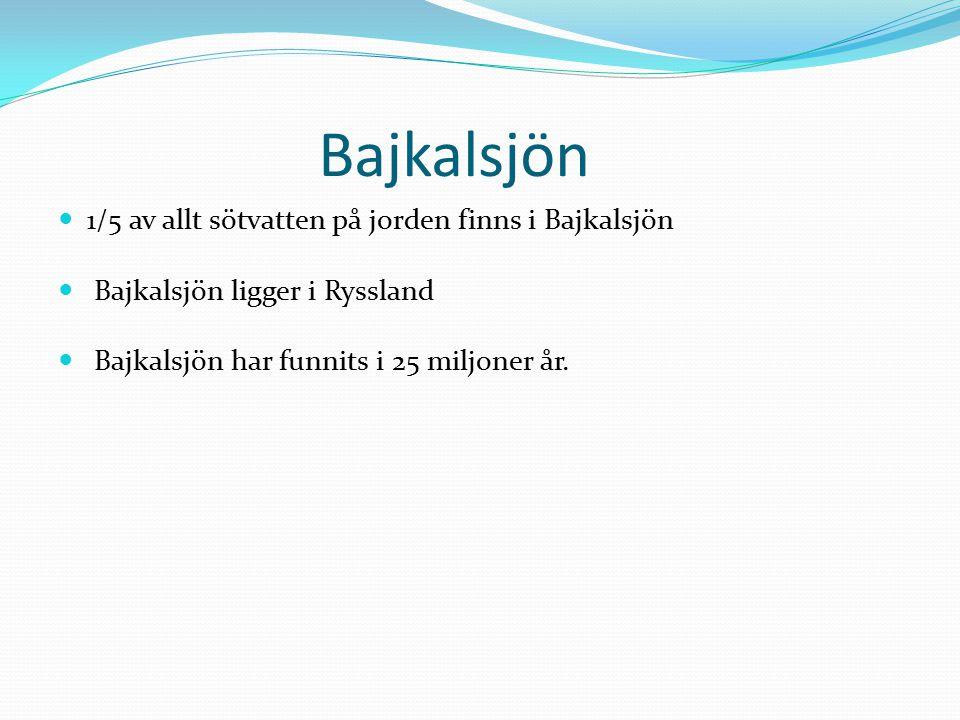 Bajkalsjön 1/5 av allt sötvatten på jorden finns i Bajkalsjön Bajkalsjön ligger i Ryssland Bajkalsjön har funnits i 25 miljoner år.