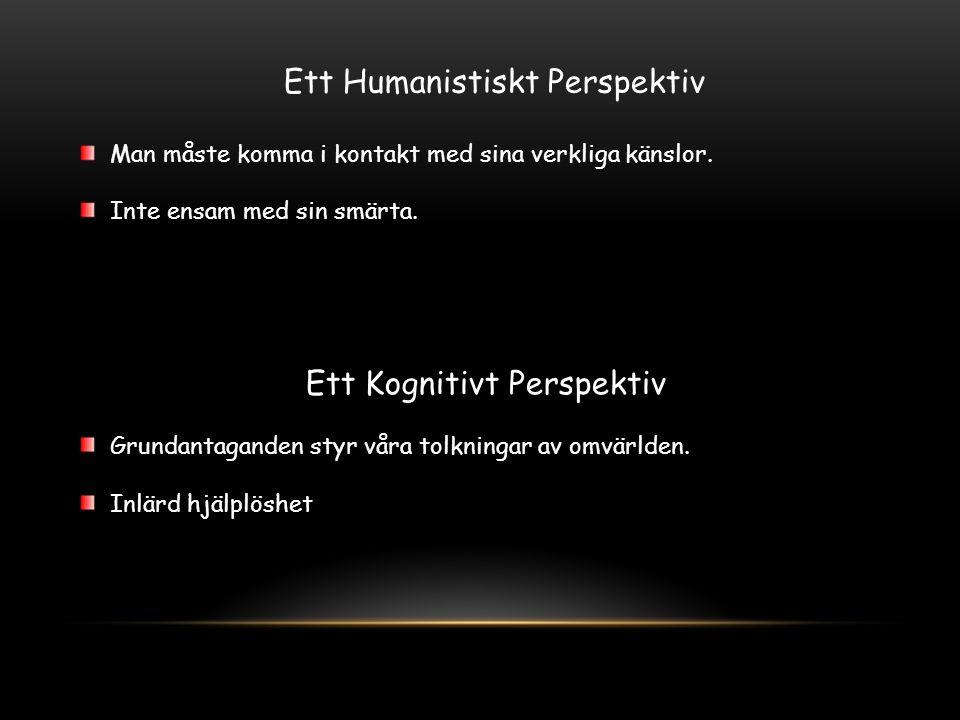 Ett Humanistiskt Perspektiv Man måste komma i kontakt med sina verkliga känslor. Inte ensam med sin smärta. Ett Kognitivt Perspektiv Grundantaganden s