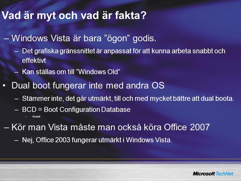 """Vad är myt och vad är fakta? –Windows Vista är bara """"ögon"""" godis. –Det grafiska gränssnittet är anpassat för att kunna arbeta snabbt och effektivt –Ka"""