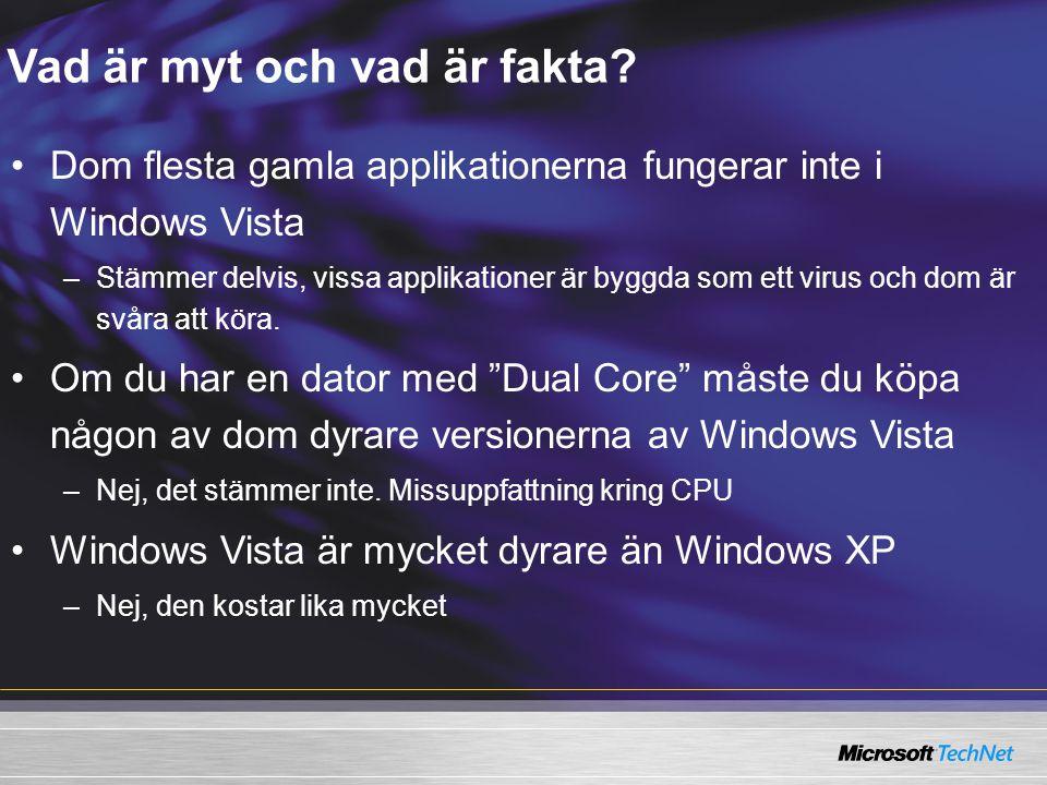 Vad är myt och vad är fakta? Dom flesta gamla applikationerna fungerar inte i Windows Vista –Stämmer delvis, vissa applikationer är byggda som ett vir