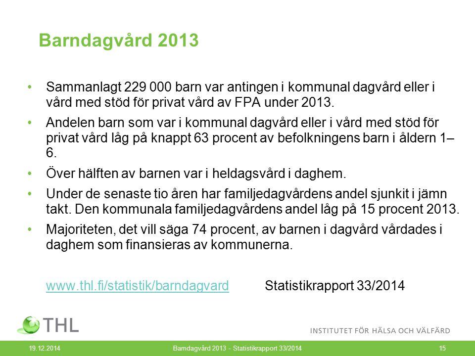Barndagvård 2013 19.12.2014Barndagvård 2013 - Statistikrapport 33/201415 Sammanlagt 229 000 barn var antingen i kommunal dagvård eller i vård med stöd