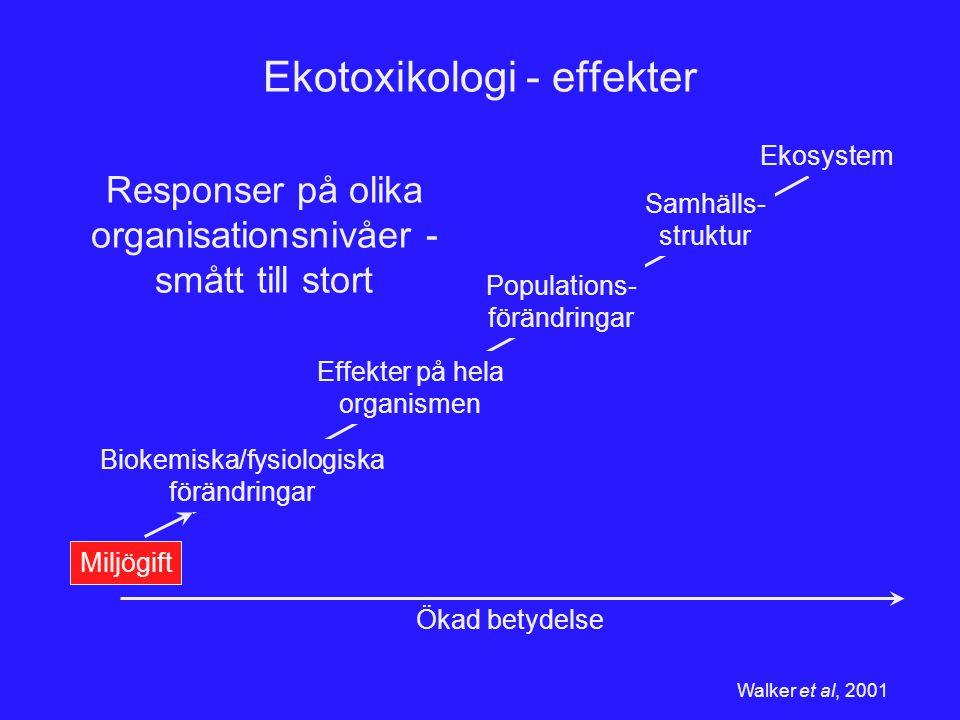 Miljögift Ekotoxikologi - effekter Biokemiska/fysiologiska förändringar Effekter på hela organismen Populations- förändringar Samhälls- struktur Ekosy
