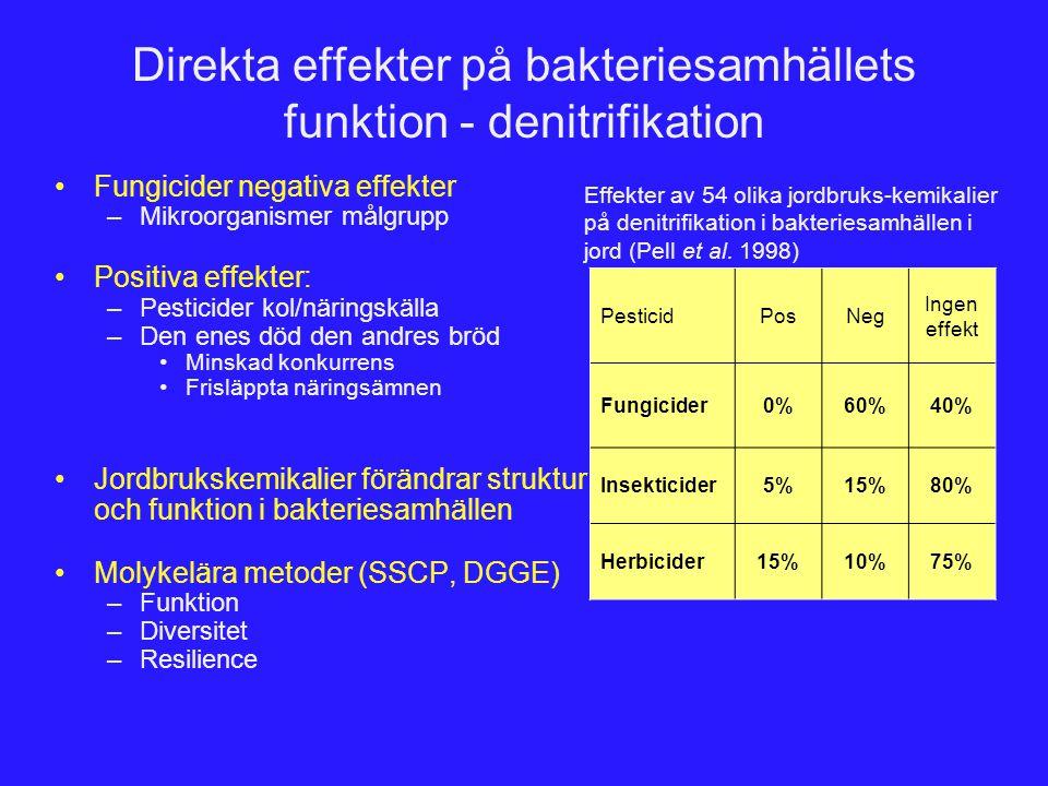 Direkta effekter på bakteriesamhällets funktion - denitrifikation Fungicider negativa effekter –Mikroorganismer målgrupp Positiva effekter: –Pesticide