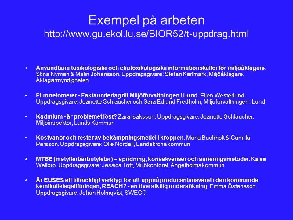 Exempel på arbeten http://www.gu.ekol.lu.se/BIOR52/t-uppdrag.html Användbara toxikologiska och ekotoxikologiska informationskällor för miljöåklagare.