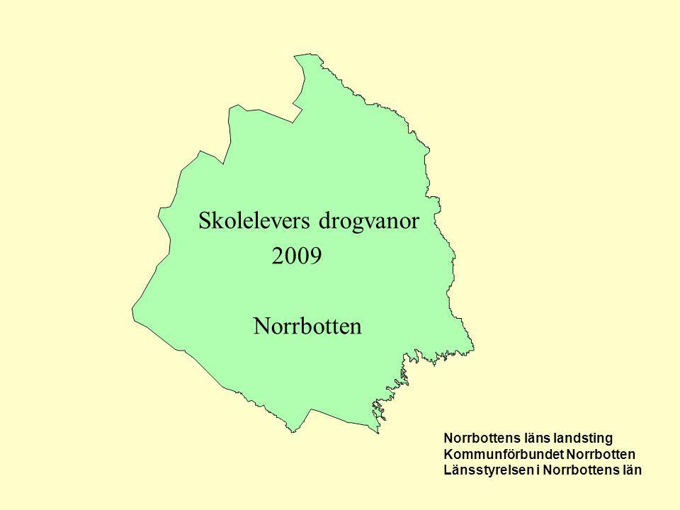 Skolelevers drogvanor 2009 Norrbotten Norrbottens läns landsting Kommunförbundet Norrbotten Länsstyrelsen i Norrbottens län