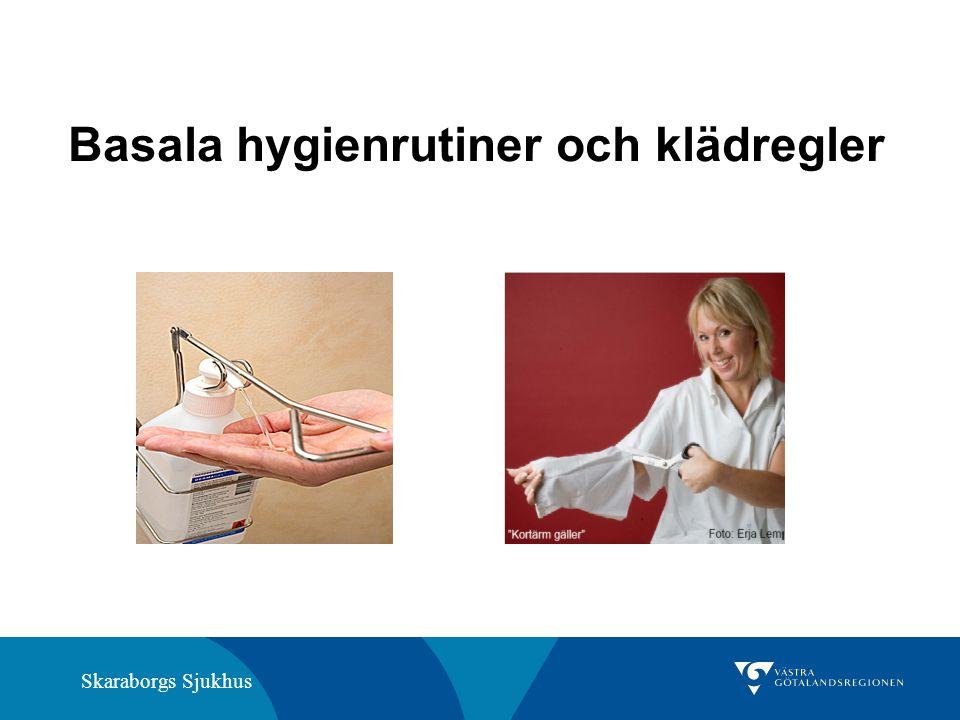 Skaraborgs Sjukhus Vid vård av en patient med gastroenterit ska händerna alltid tvättas med vatten och flytande tvål före desinfektion.
