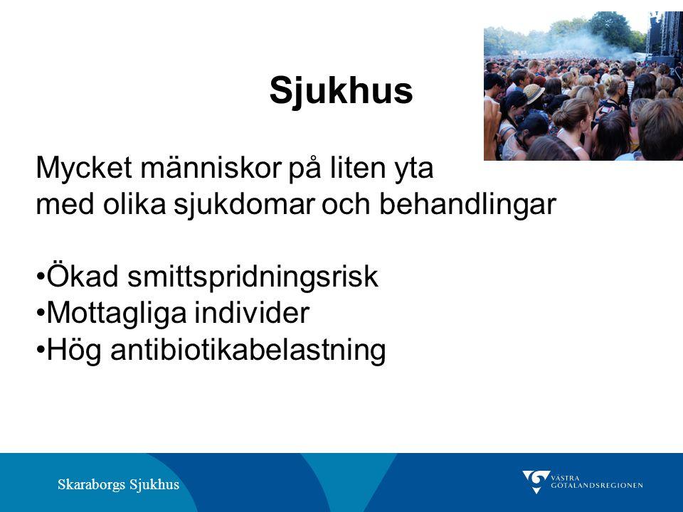 Skaraborgs Sjukhus Sjukhus Mycket människor på liten yta med olika sjukdomar och behandlingar Ökad smittspridningsrisk Mottagliga individer Hög antibiotikabelastning