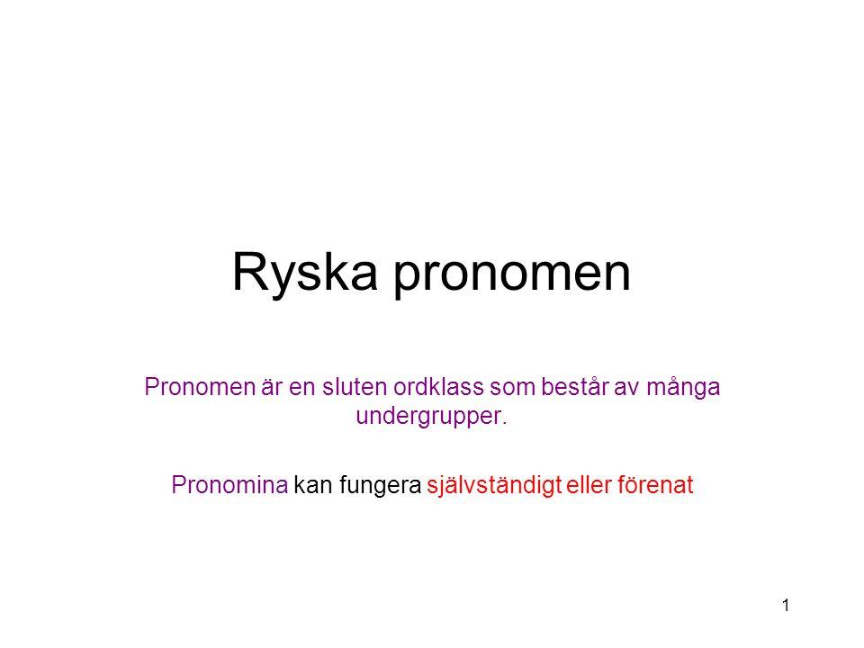 1 Ryska pronomen Pronomen är en sluten ordklass som består av många undergrupper.