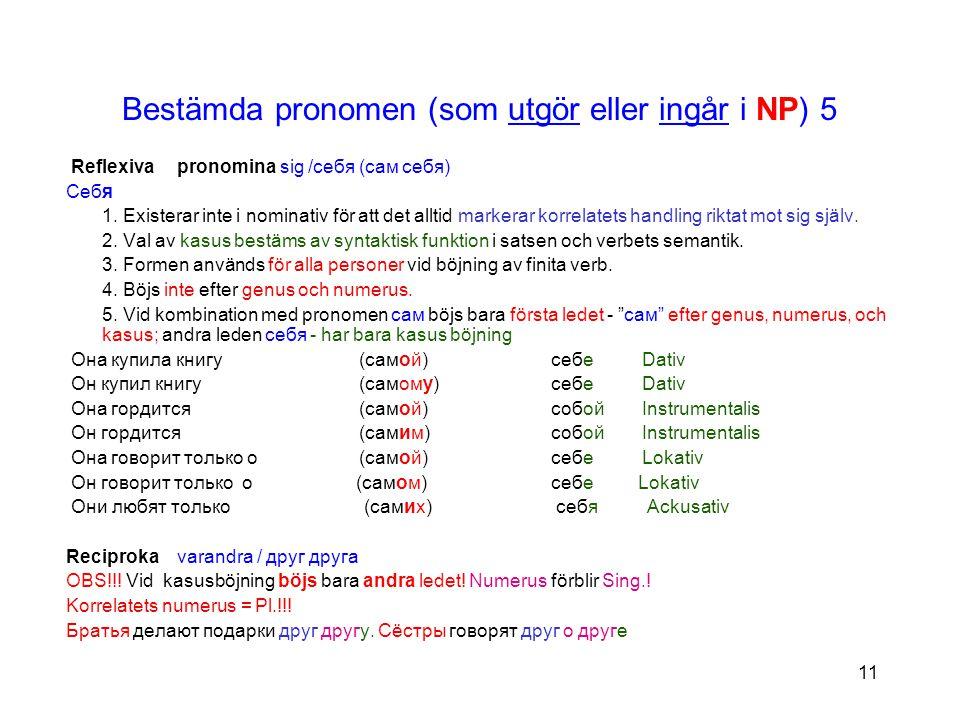 11 Bestämda pronomen (som utgör eller ingår i NP) 5 Reflexiva pronomina sig /себя (сам себя) Себя 1.