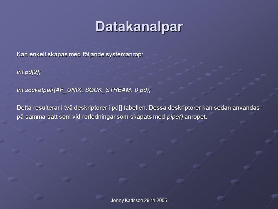 Jonny Karlsson 29.11.2005 Datakanalpar Kan enkelt skapas med följande systemanrop: int pd[2]; int socketpair(AF_UNIX, SOCK_STREAM, 0 pd); Detta result