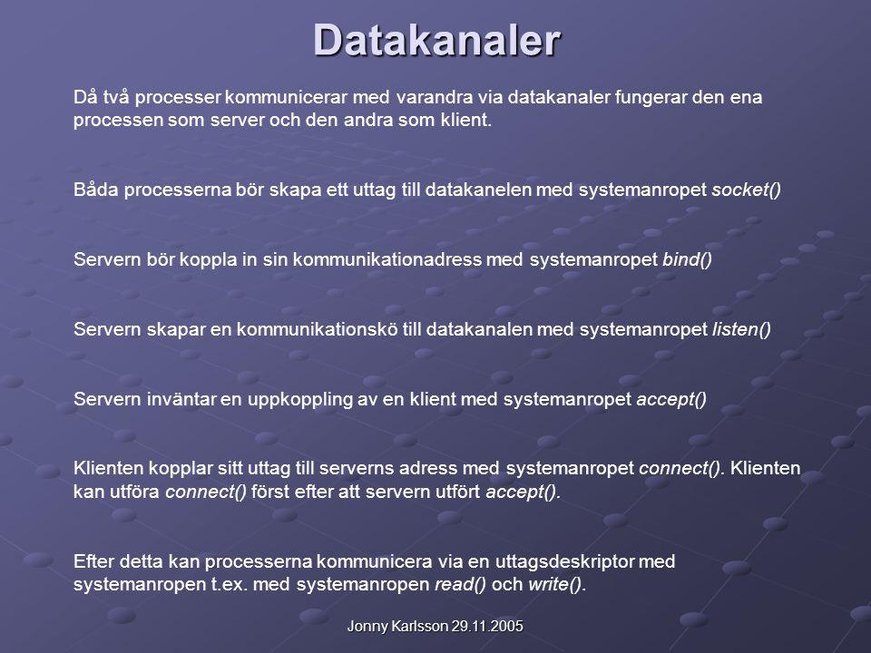 Datakanaler Då två processer kommunicerar med varandra via datakanaler fungerar den ena processen som server och den andra som klient. Båda processern