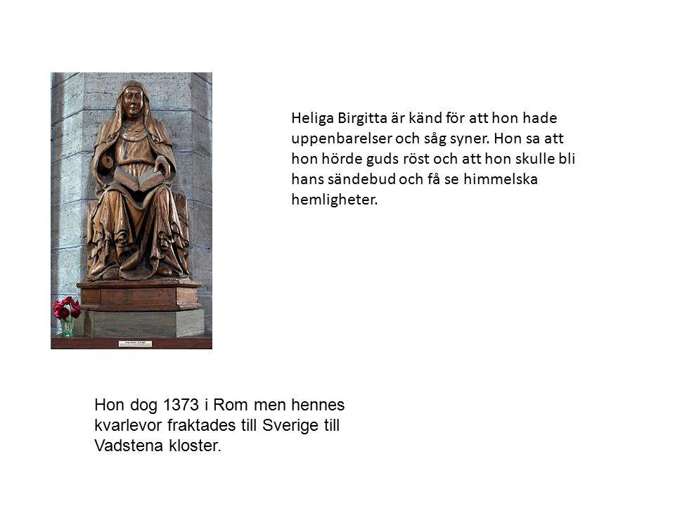 Heliga Birgitta är känd för att hon hade uppenbarelser och såg syner. Hon sa att hon hörde guds röst och att hon skulle bli hans sändebud och få se hi