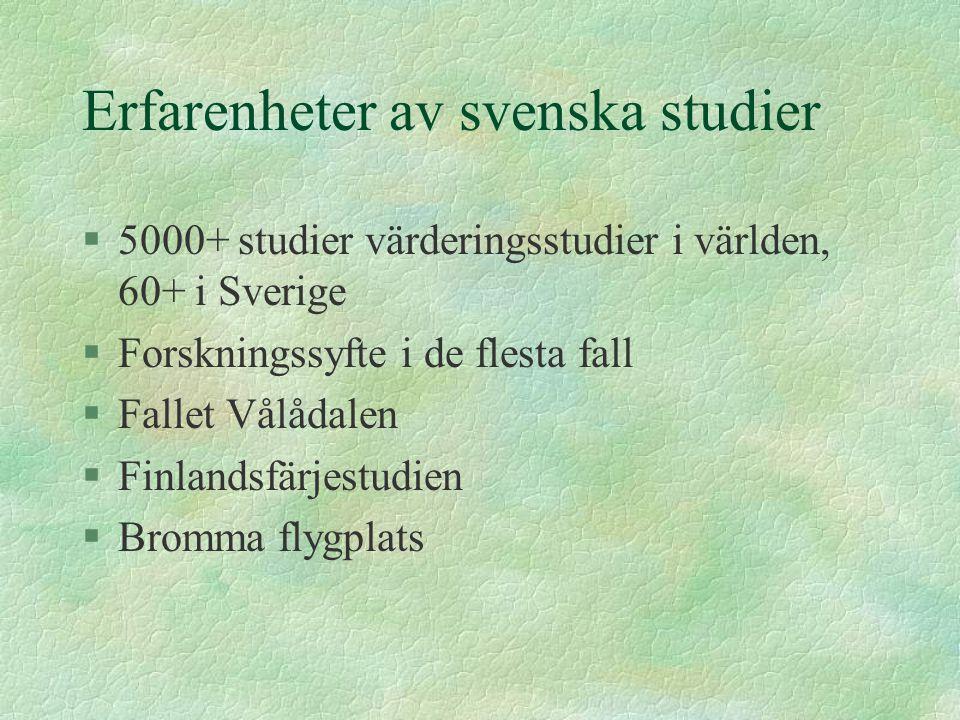 Erfarenheter av svenska studier §5000+ studier värderingsstudier i världen, 60+ i Sverige §Forskningssyfte i de flesta fall §Fallet Vålådalen §Finlandsfärjestudien §Bromma flygplats