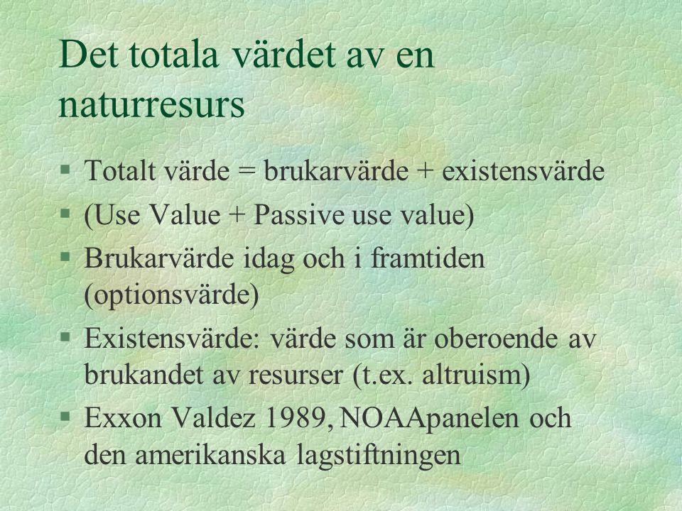 Det totala värdet av en naturresurs §Totalt värde = brukarvärde + existensvärde §(Use Value + Passive use value) §Brukarvärde idag och i framtiden (optionsvärde) §Existensvärde: värde som är oberoende av brukandet av resurser (t.ex.