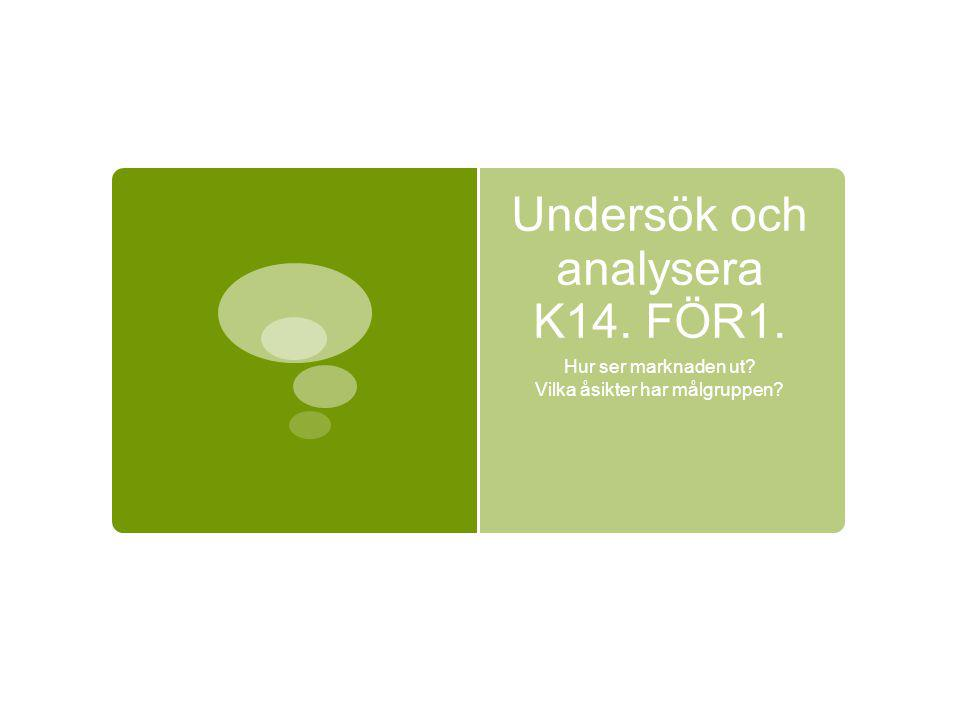 Undersök och analysera K14. FÖR1. Hur ser marknaden ut Vilka åsikter har målgruppen