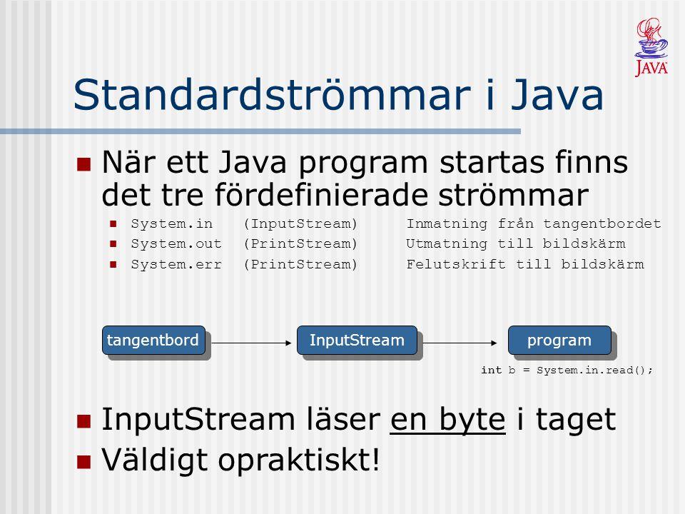 Filtrera Strömmar Vissa strömmar filtrerar data i en annan ström Kombinerar olika strömmar så att data flödar via ett antal filter program tangentbord InputStream InputStreamReader BufferedReader String s = input.readLine(); BufferedReader input = new BufferedReader(new InputStreamReader(System.in); Buffrar för mer effektiv läsning Konverterar från byte till Unicode System.in läser en byte