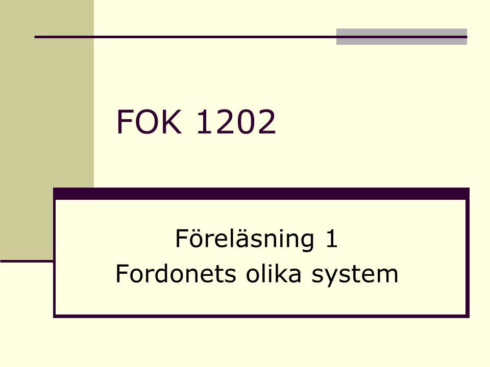 Elsystem Indelningsgrunder i sex (6) olika system: Strömförsörjningssystem Startsystem Tändsystem Belysningssystem Varningssystem Övriga system