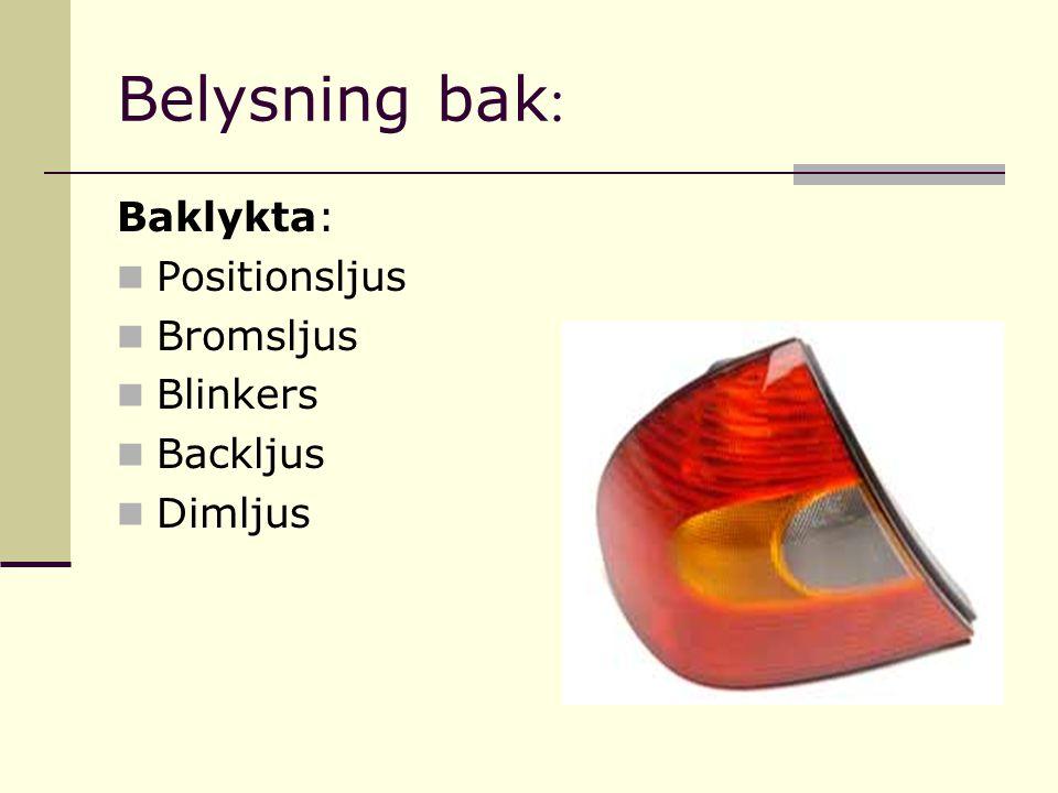 Belysning bak : Baklykta: Positionsljus Bromsljus Blinkers Backljus Dimljus