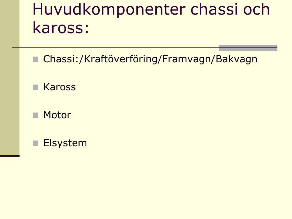 Huvudkomponenter chassi och kaross: Chassi:/Kraftöverföring/Framvagn/Bakvagn Kaross Motor Elsystem