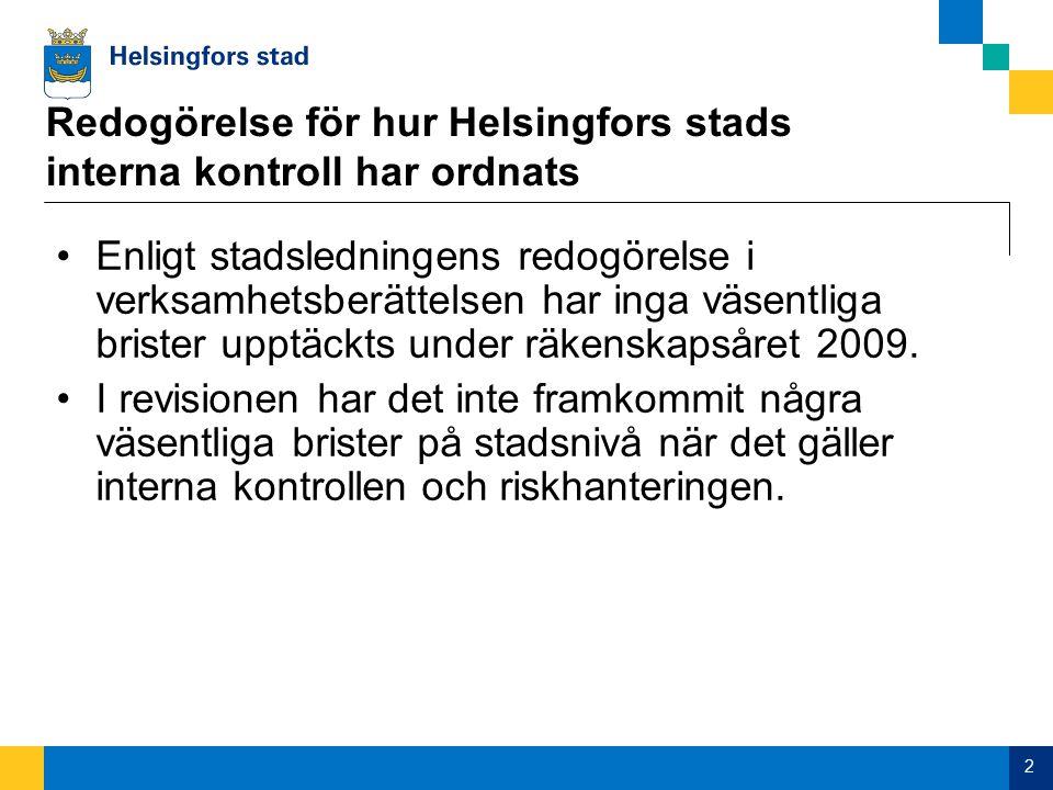 2 Redogörelse för hur Helsingfors stads interna kontroll har ordnats Enligt stadsledningens redogörelse i verksamhetsberättelsen har inga väsentliga brister upptäckts under räkenskapsåret 2009.