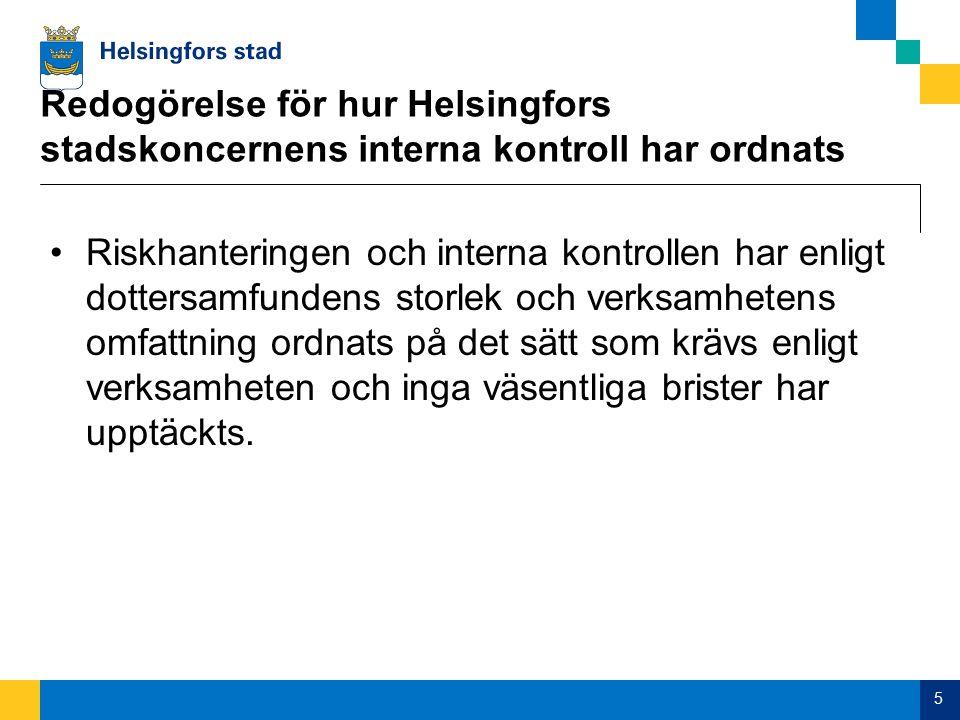 Redogörelse för hur Helsingfors stadskoncernens interna kontroll har ordnats Riskhanteringen och interna kontrollen har enligt dottersamfundens storlek och verksamhetens omfattning ordnats på det sätt som krävs enligt verksamheten och inga väsentliga brister har upptäckts.