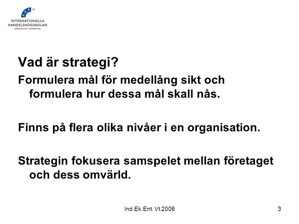 Ind.Ek.Ent.Vt 20064 SWOT-analys Intern analys SWOT-analys, Olsson & Skärvad, 2005, s.