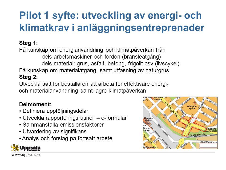 Pilot 1 syfte: utveckling av energi- och klimatkrav i anläggningsentreprenader Steg 1: Få kunskap om energianvändning och klimatpåverkan från dels arb