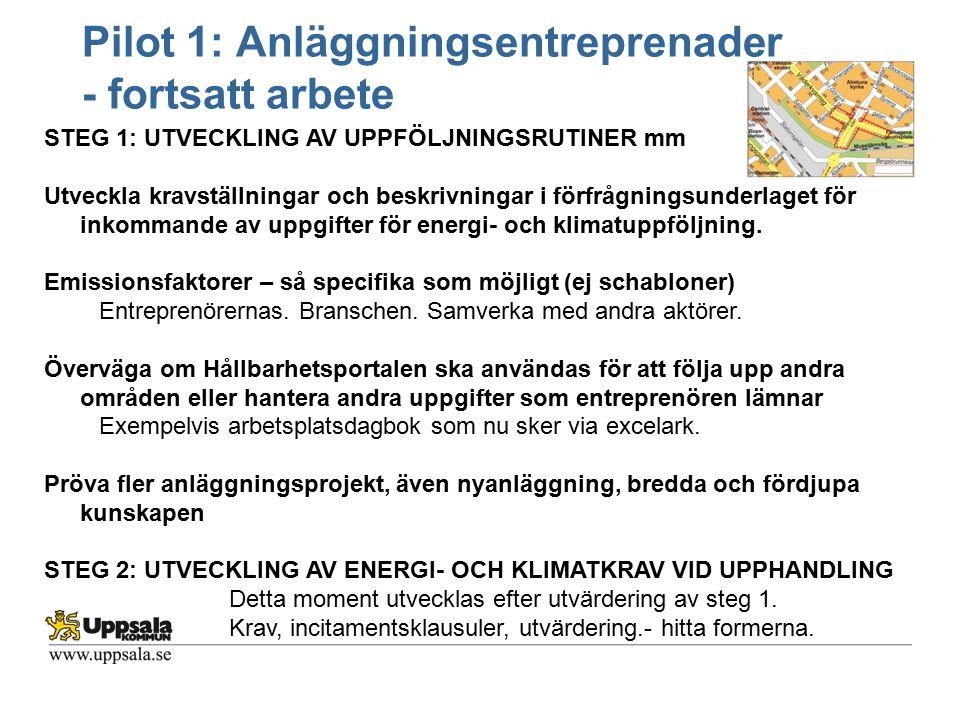Pilot 1: Anläggningsentreprenader - fortsatt arbete STEG 1: UTVECKLING AV UPPFÖLJNINGSRUTINER mm Utveckla kravställningar och beskrivningar i förfrågn