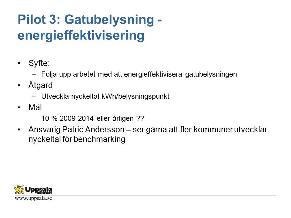 Pilot 3: Gatubelysning - energieffektivisering Syfte: –Följa upp arbetet med att energieffektivisera gatubelysningen Åtgärd –Utveckla nyckeltal kWh/be