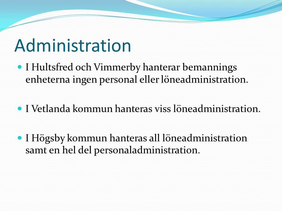 Administration I Hultsfred och Vimmerby hanterar bemannings enheterna ingen personal eller löneadministration. I Vetlanda kommun hanteras viss löneadm