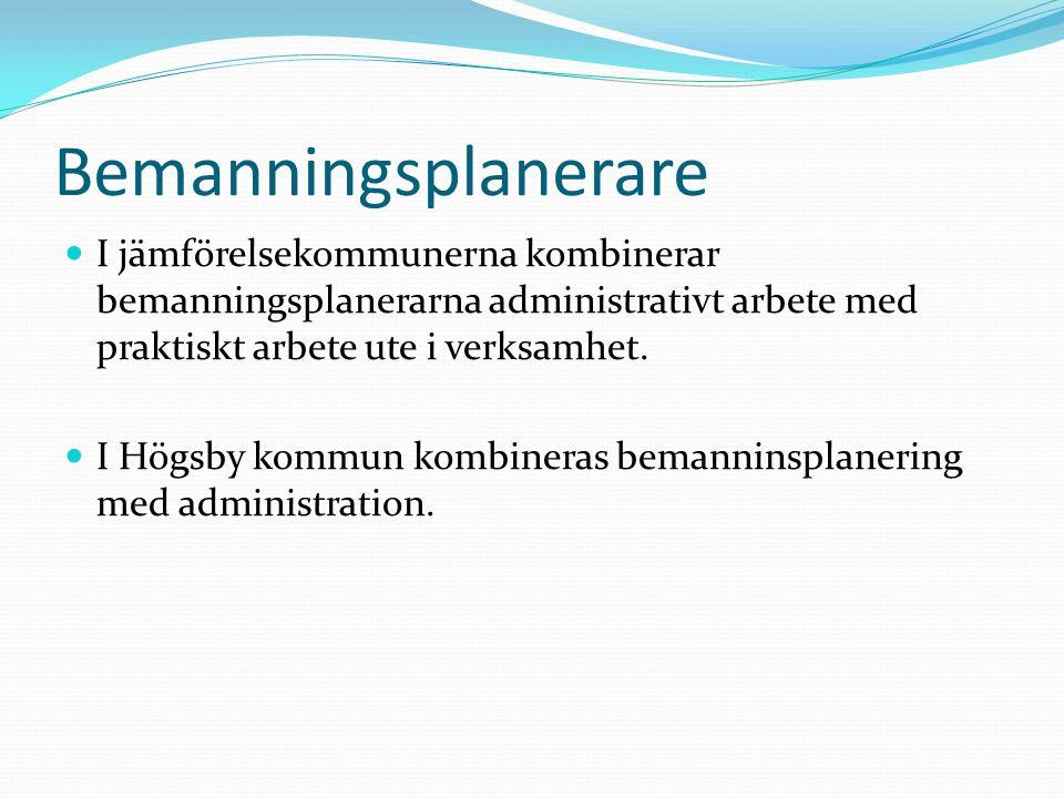 Bemanningsplanerare I jämförelsekommunerna kombinerar bemanningsplanerarna administrativt arbete med praktiskt arbete ute i verksamhet. I Högsby kommu
