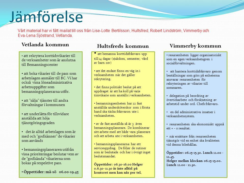 Jämförelse Vetlanda kommun att rekrytera korttidsvikarier till de verksamheter som är anslutna till Bemanningscenter att boka vikarier till de pass so