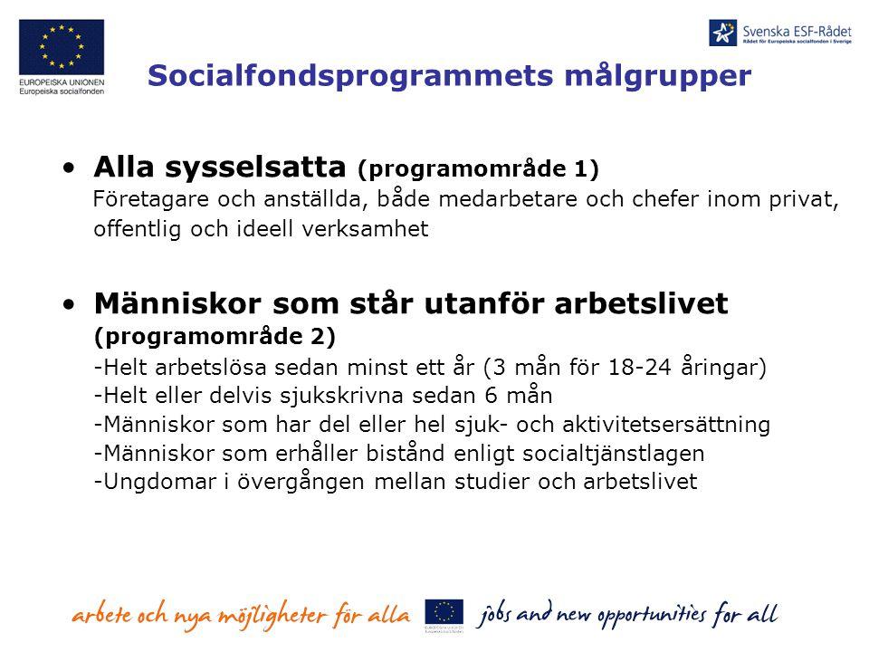Socialfondsprogrammets målgrupper Alla sysselsatta (programområde 1) Företagare och anställda, både medarbetare och chefer inom privat, offentlig och