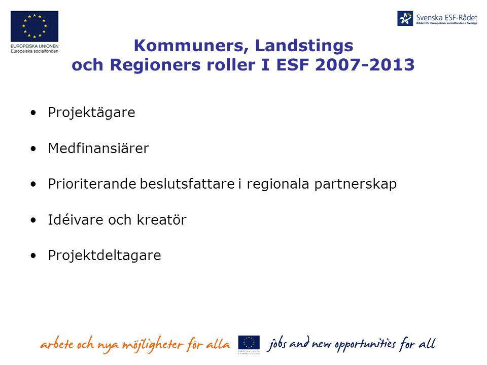 Kommuners, Landstings och Regioners roller I ESF 2007-2013 Projektägare Medfinansiärer Prioriterande beslutsfattare i regionala partnerskap Idéivare o