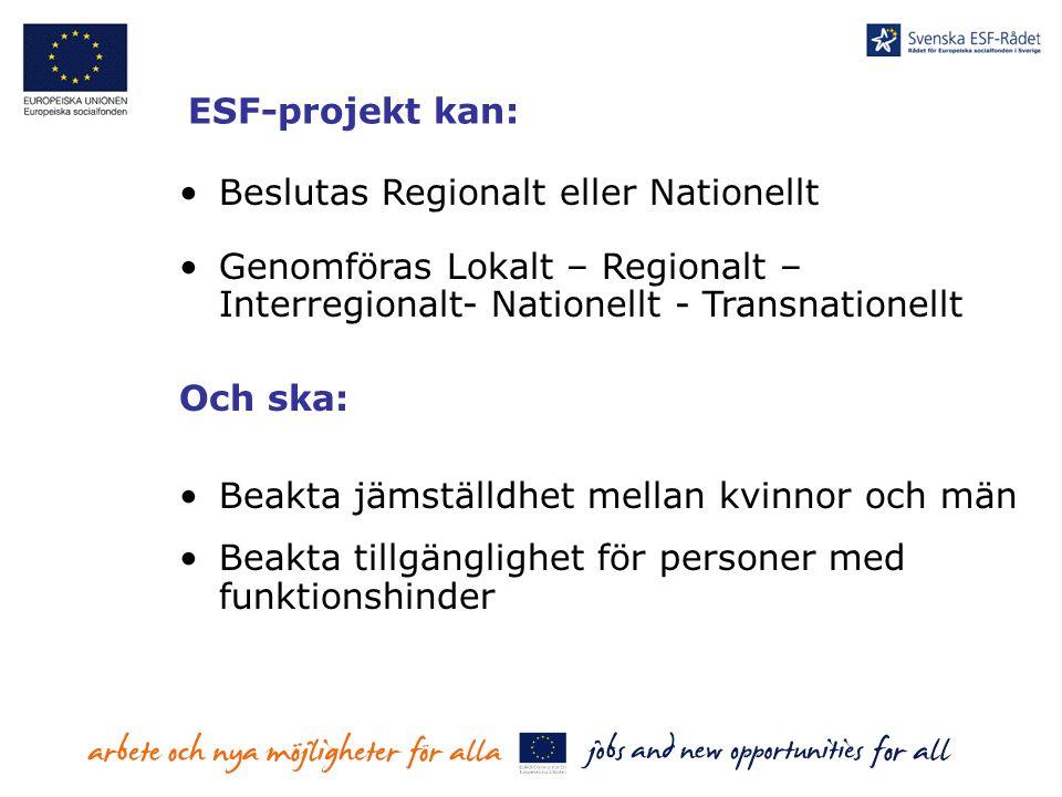 ESF-projekt kan: Beslutas Regionalt eller Nationellt Genomföras Lokalt – Regionalt – Interregionalt- Nationellt - Transnationellt Och ska: Beakta jäms