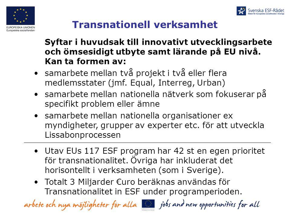 Transnationell verksamhet Syftar i huvudsak till innovativt utvecklingsarbete och ömsesidigt utbyte samt lärande på EU nivå. Kan ta formen av: samarbe