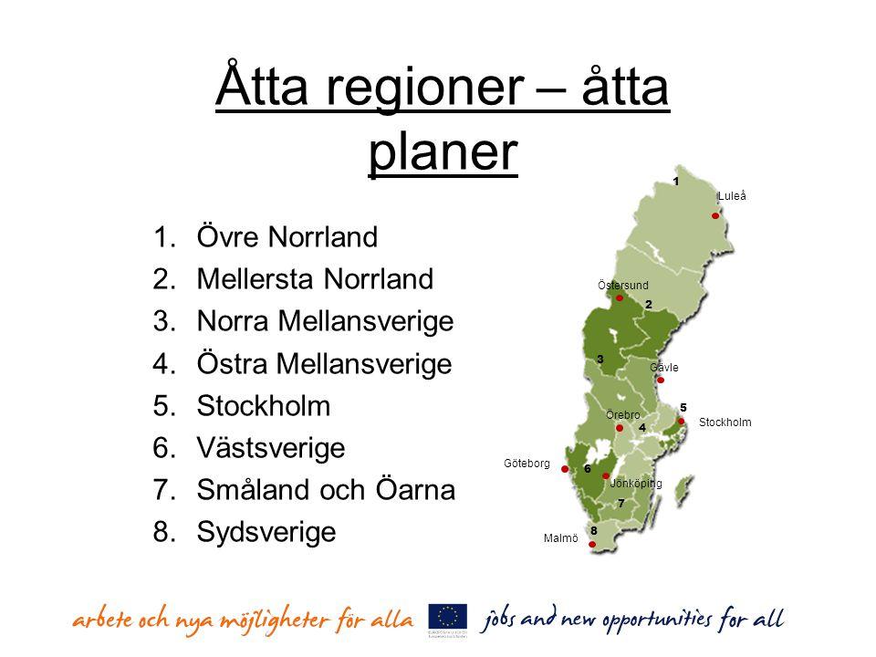 Åtta regioner – åtta planer 1.Övre Norrland 2.Mellersta Norrland 3.Norra Mellansverige 4.Östra Mellansverige 5.Stockholm 6.Västsverige 7.Småland och Ö