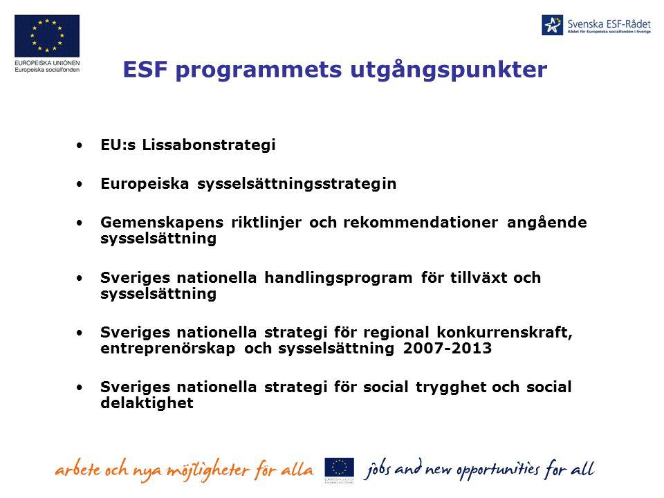 Ändrade förutsättningar SPD, CIP programkomplement 7 EU Förordningar (1260/99, 1784/99, 1681/94, 1159/00, 1685/00, 438/01, 448/01) Nationellt synsätt ESF i mål 1 Gemenskapsinitiativ 21 län Svag EU / SV policy koppling Stödberättigande styrs av EU 21 regionala partnerskap plus strukturfondsdelegationer i Mål 1.