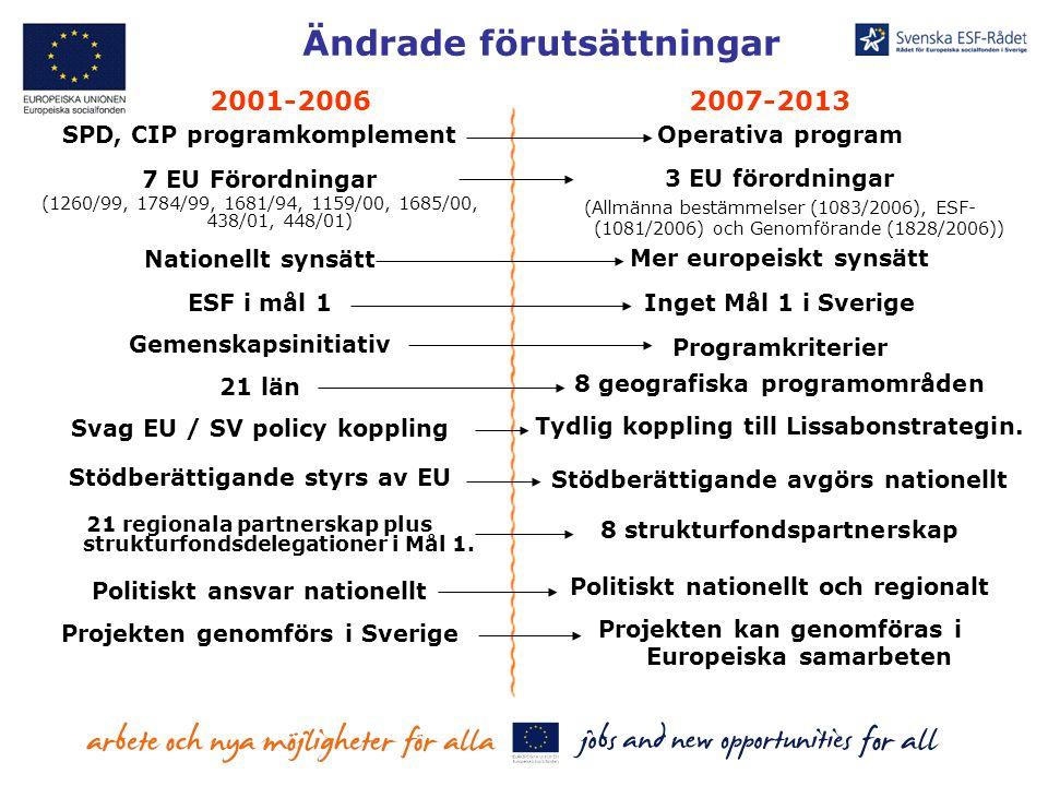 Ändrade förutsättningar SPD, CIP programkomplement 7 EU Förordningar (1260/99, 1784/99, 1681/94, 1159/00, 1685/00, 438/01, 448/01) Nationellt synsätt