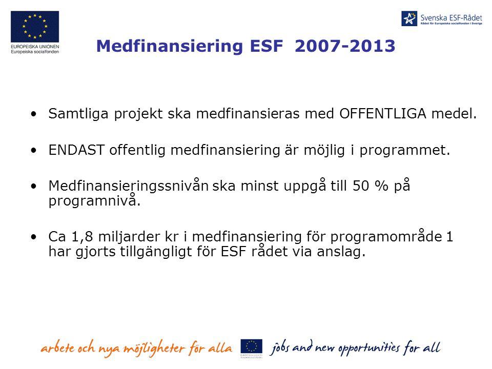 Medfinansiering ESF 2007-2013 Samtliga projekt ska medfinansieras med OFFENTLIGA medel. ENDAST offentlig medfinansiering är möjlig i programmet. Medfi
