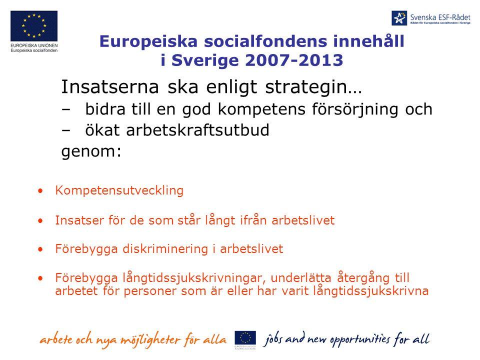 Europeiska socialfondens innehåll i Sverige 2007-2013 Insatserna ska enligt strategin… –bidra till en god kompetens försörjning och –ökat arbetskrafts