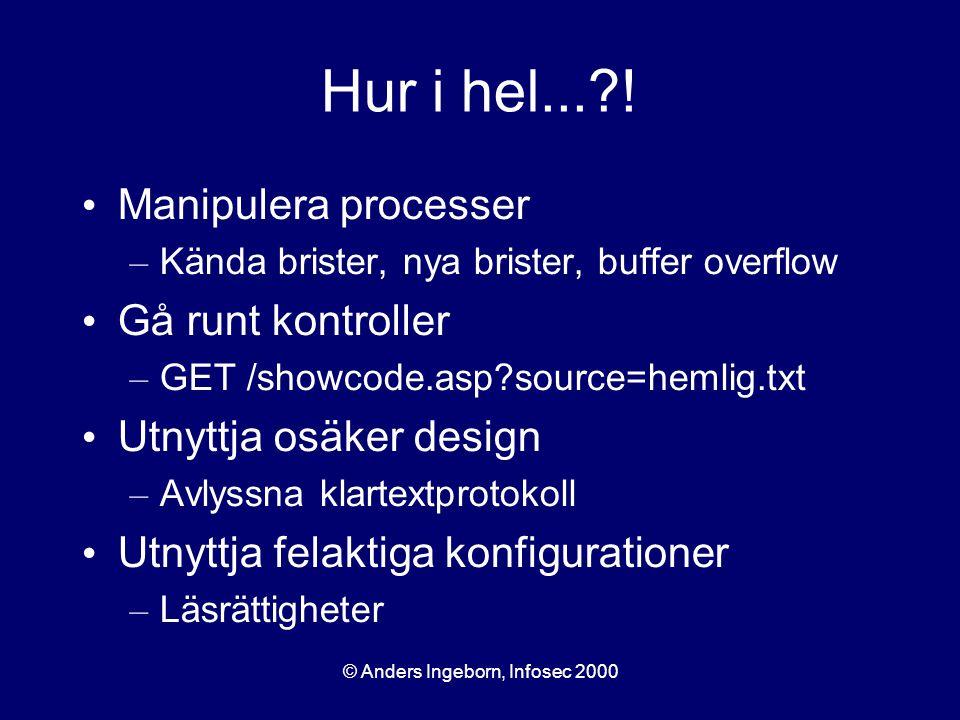 © Anders Ingeborn, Infosec 2000 Hur i hel...?! Manipulera processer – Kända brister, nya brister, buffer overflow Gå runt kontroller – GET /showcode.a