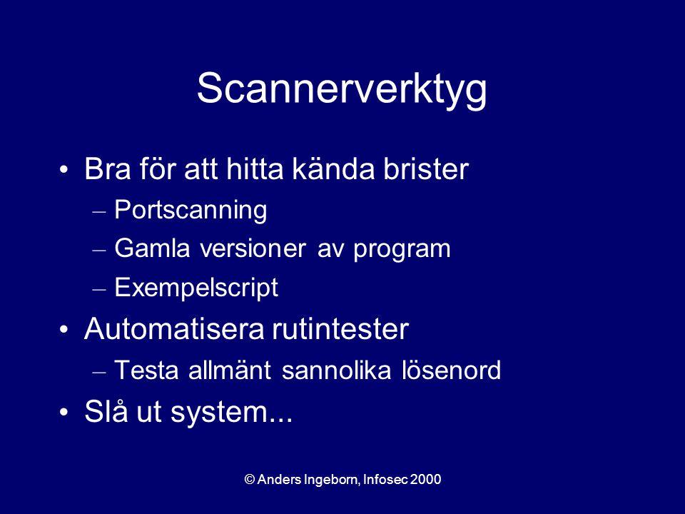 © Anders Ingeborn, Infosec 2000 Scannerverktyg Bra för att hitta kända brister – Portscanning – Gamla versioner av program – Exempelscript Automatisera rutintester – Testa allmänt sannolika lösenord Slå ut system...