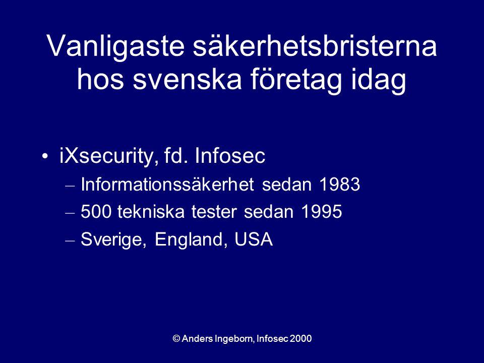 © Anders Ingeborn, Infosec 2000 Vanligaste säkerhetsbristerna hos svenska företag idag iXsecurity, fd. Infosec – Informationssäkerhet sedan 1983 – 500