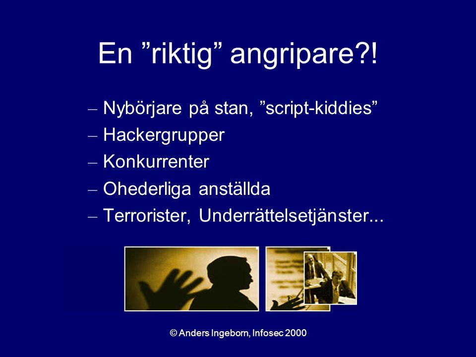 """© Anders Ingeborn, Infosec 2000 En """"riktig"""" angripare?! – Nybörjare på stan, """"script-kiddies"""" – Hackergrupper – Konkurrenter – Ohederliga anställda –"""