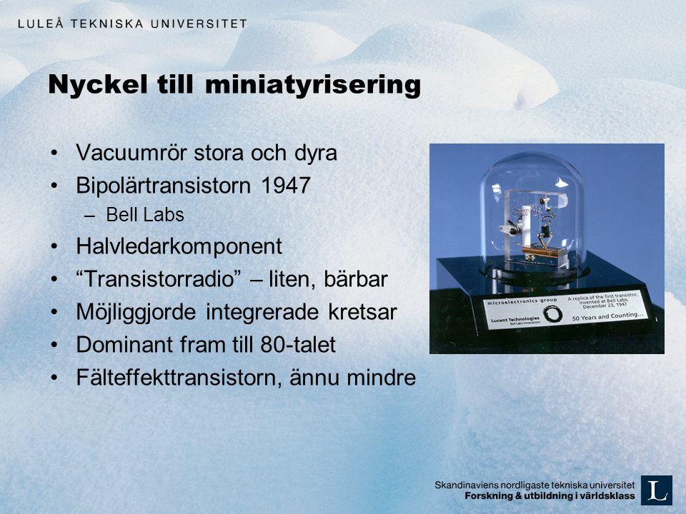 Nyckel till miniatyrisering Vacuumrör stora och dyra Bipolärtransistorn 1947 –Bell Labs Halvledarkomponent Transistorradio – liten, bärbar Möjliggjorde integrerade kretsar Dominant fram till 80-talet Fälteffekttransistorn, ännu mindre